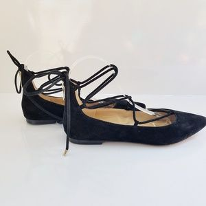 Vince Camuto Pointy Toe Lace-up Ballet Suede Flats